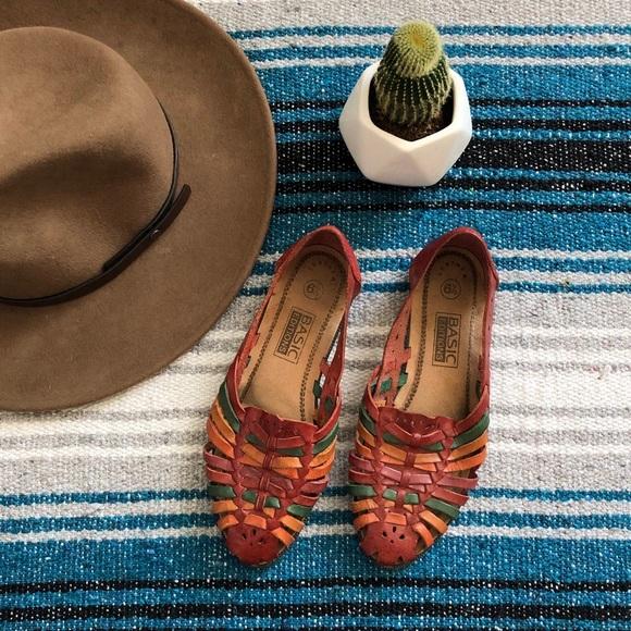 Vintage Shoes - Vintage Leather Flats 6.5